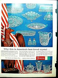 1962 Fostoria Glass Crystal American Pitcher Cake Plate Divided Dish Cr/sug Ad