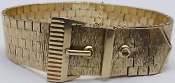 Heavy Solid 9ct Yellow Gold Flexible 7.25inch Vintage Buckle Bracelet Weighs 54g