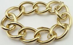 Heavy Solid 9ct Yellow Gold Chain Link Vintage Bracelet 8.5inch Weighs 97.2grams