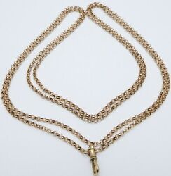 Antique 56 Inch Long 9ct Rose Gold Muff Guard Chain Necklace Weighs 31.1 Grams.