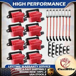 8 Pack Square Ignition Coil And Spark Plug Wire For Chevy Gmc 5.3l 6.0l 8.1l 4.8l