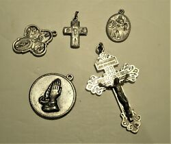 Antique Lot Of 5 Silver Oxidized Catholic Religious Charms Medals From Italy