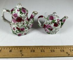 English Rose Pattern Teapots Salt N Pepper Shakers Floral Great Condition