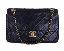 CHANEL Black Leather Quilted Double Flap 24K Gold CC Chain Shoulder Bag Purse $1450.00