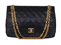 CHANEL Black Leather Quilted Double Flap 24K Gold CC Chain Shoulder Bag Purse $2450.00