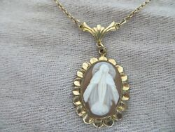 Vntg.40-50and039s Gold Filled Virgin Mary Carved Shell Cameo Chain Necklace 18 L.