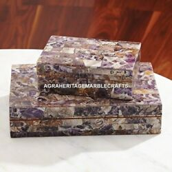Gorgeous Marble 2 Set Of Jewelry Box Mosaic Intregrate Inlay Girl Gift Decor E13