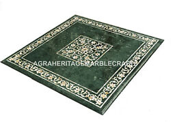 Green Marble Coffee Dining Table Top Mother Of Pearl Inlay Stone Decor H4040