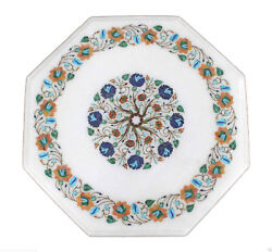 16 White Marble Coffee Table Top Multi Inlay Marquetry Design Furniture Decor