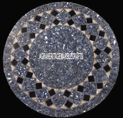 Marble Round Coffee Table Marquetry Precious Inlay Occasional Garden Decor H4018