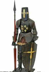 Armor Medieval Knight Costume Antique Full Body Armor Costume Helmet With Base