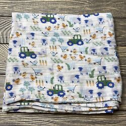 Gymboree Farm Tractor Chickens Baby Infant Receiving Blanket Swaddle