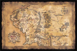 Hobbit / Lord Of The Rings - Dark Map Of Middle Earth - Framed Movie Poster
