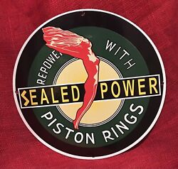 Vintage Style Sealed Power Piston Rings Porcelain 12 Inch Sign