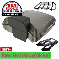 River Rock Grayglossy Razor Tour Pack Trunk Luggage For 1997+ Harley Touring