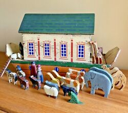 Lg Antique Folk Art Noahand039s Ark With Hand Carved Animals Naive 19th Century Toy