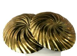 Art Deco Solid Brass Sea Shell Trinket Candy Dish Ash Tray Conch Vanity Signed 2
