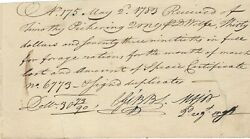 Caleb Gibbs Timothy Pickering Forage Rations Receipt For Revolutionary War