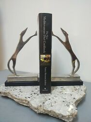 Nickel Plated Brass /marble Base Deco Mcm Whippet Greyhound Dog Bookends
