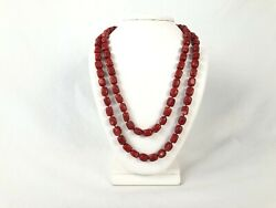 Dyed Red Sponge Coral Beads Knotted Strand W Sterling Clasp 36 Estate Find