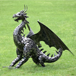 All Metal Large Dragon Sculpture 53 Inch H Statue Home Business Medieval Decor