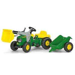 Rolly Toys John Deere Pedal Tractor With Loader And Detachable Trailer Open Box