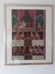Antique Traditional Thai Asia Painting Original God Saints In Royal Court Framed