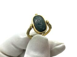 Antique 1900andrsquos Egyptian 22ct Gilded Silver Bloodstone Khnum Spinner Ring Size- K