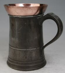 Antique Pewter Copper Frother Quart Tankard Mug Measure By Gaskell And Chambers
