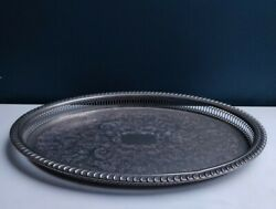 Lovely Vintage Large Oval Metal Gallery Serving Tray