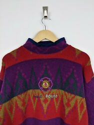 Insane Vintage Best Company Embroidered Pattern High Neck Sweater Jumper L