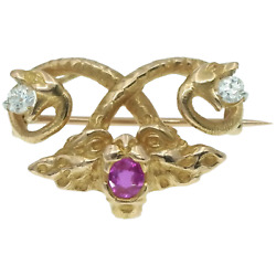 Antique Art Nouveau 18k Fantasy Snake And Face Pendant Brooch -diamonds And Ruby