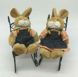 Plushland Easter Bunnies Male Female Real Wood Metal Rocking Chairs Vintage