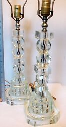 Amazing Pair Art Deco Crystal Lamps Large Faceted  30 H