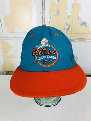 Vintage 80s 17-0 Undefeated Season Miami Dolphins Fitted Hat Snapback By Roman M