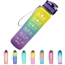 32 Oz Water Bottle With Time Marker   Bpa Free   Leak Proof   Measures How Much
