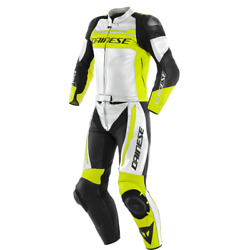 Motorcycle Leather Suit Dainese Mistel 2pcs White/yellow - Size 52