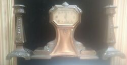 Art Nouveau Clock And Matching Candelabras, The Lux Clock Mfg Co., Beautiful Set
