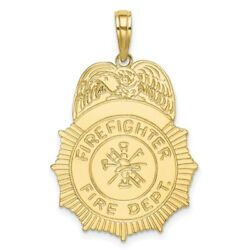 Real 10k Yellow Gold Firefighter Fire Dept. Badge Charm Women And Men