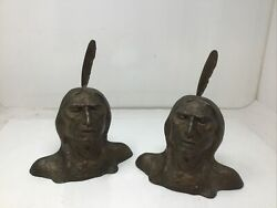 West 1913 American Indian Bronze Art Statue Sculpture Bust Bookends W Feathers