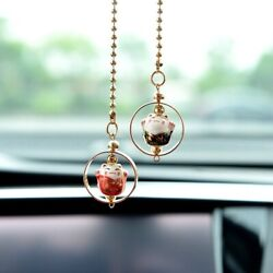 Cute Lucky Cat Charm Car Pendant Rearview Mirror Cars Interior Accessories Gifts