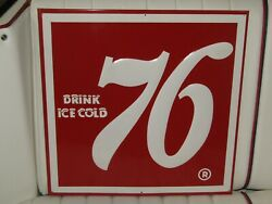1950's Drink Ice Cold 76 Embossed Metal Single Sided Soda Pop Sign Nos