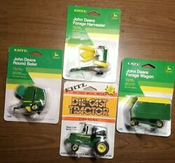 4 Piece - John Deere Forage Wagon And Harvester, Tractor, Round Baler 1/64 Scale