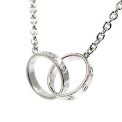 Love Necklace K18 White Gold Lobster Clasp Chain Length 17.1 In.
