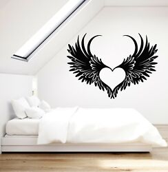 Vinyl Wall Decal Flying Heart Wings Feathers Romance Bedroom Stickers g5016
