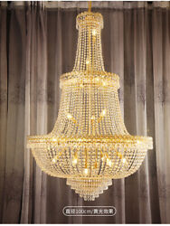 Led Large Crystal Chandelier Living Room Luxury Stair Villa Lobby Ceiling Light