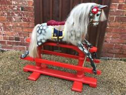 Genuine Antique Lines Rocking Horse Extra Carved Christening Gift Worldwide Ship