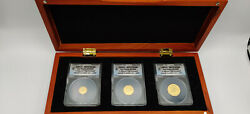 2012-p Anacs Ms70 Dcam Australia Gold Dragon 3-coin Set In Display First Release