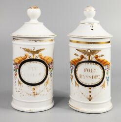 Set Of 2 Antique 19th Century French Porcelain Lidded Apothecary Jars