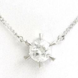 Jewelry Platinum Pt850 Necklace Diamond 0.68 About3.7g Free Shipping Used